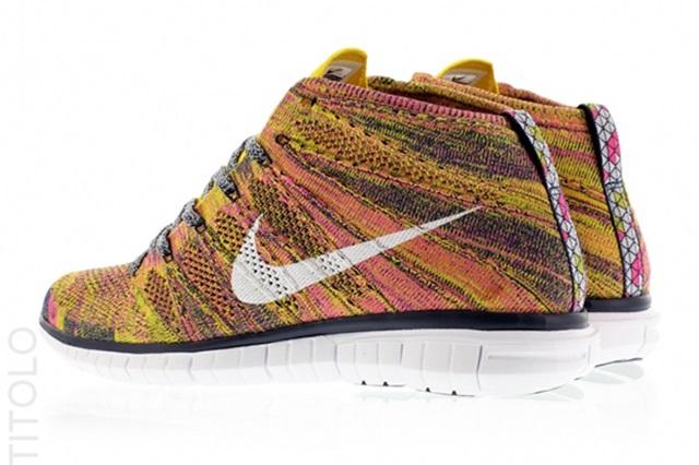 Mens Nike Free Flyknit Chukka Running Shoes On Feet